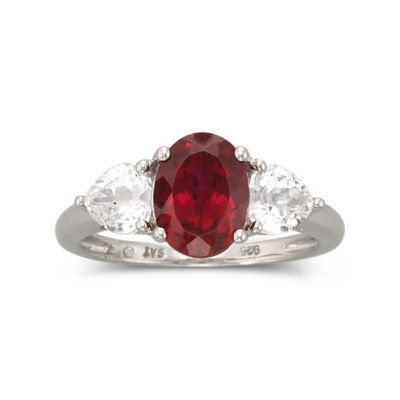 Womens 3 1/2 CT. T.W Red Ruby Sterling Silver Cocktail Ring