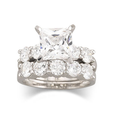 DiamonArt Cubic Zirconia Engagement Ring Set JCPenney