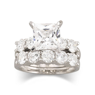 Enement And Wedding Ring Sets | Diamonart Cubic Zirconia Engagement Ring Set Jcpenney