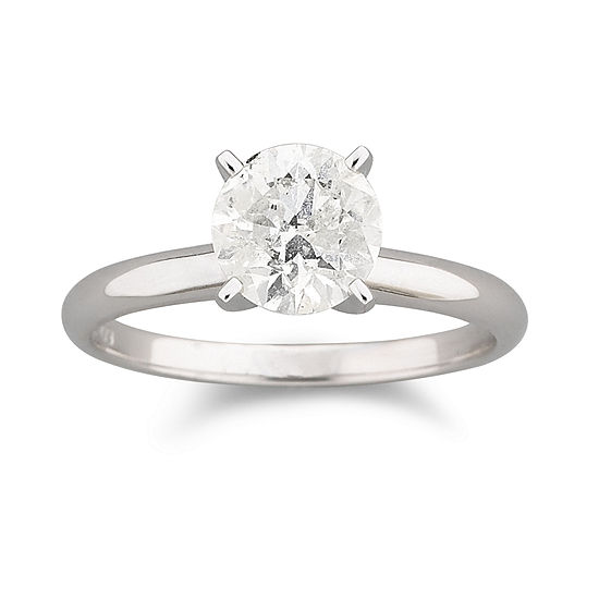 1 CT. Certified Genuine Diamond Solitaire 14K White Gold Ring