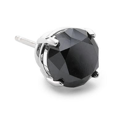 Single Black Diamond Stud Earring, 3/4 CT. Steel
