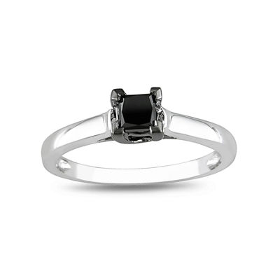 1/2 CT. Princess Solitaire Black Diamond Ring