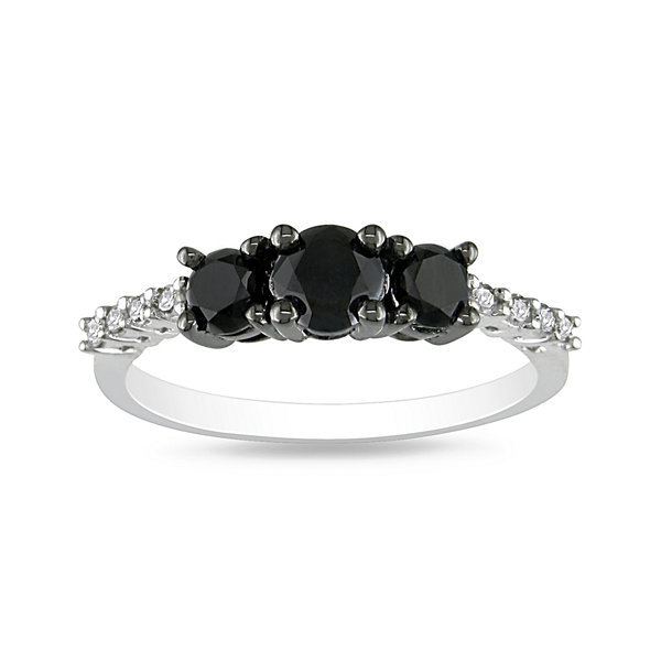 Midnight Black Diamond 1 CT. T.W. Color-Enhanced Black Diamond Three-Stone Ring