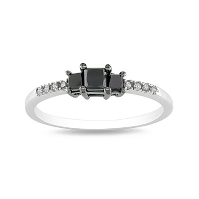 3-Stone Color-Enhanced Black Diamond Ring Sterling