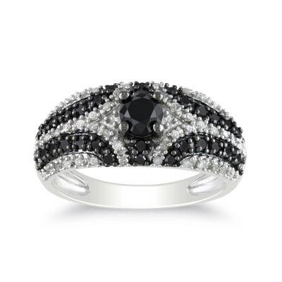 1 CT. T.W. White & Color-Enhanced Black Diamond Ring