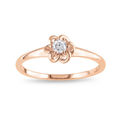 Rose Gold, Diamond Flower Ring 1/10 CT. T.W.