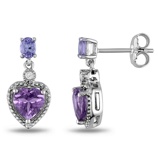 Genuine Amethyst, Tanzanite and Diamond-Accent Heart Earrings