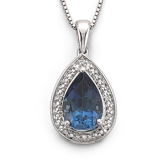Womens 2 CT. T.W. Genuine Blue Topaz Sterling Silver Pear Pendant Necklace