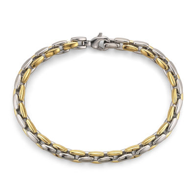 Men's Square Link Bracelet in Two-Tone Steel