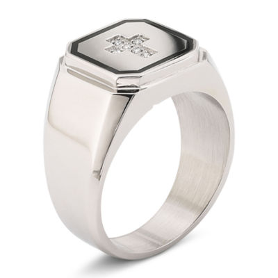 Mens Diamond Accent Stainless Steel Cross Ring