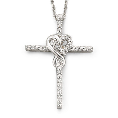 Infinite Promise 1/10 CTTW Diamond Silver Infinity Cross Pendant Necklace