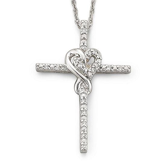 Infinite Promise 1/10 CTTW Diamond Silver Infinity Cross Pendant Necklace