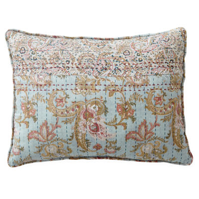 Home Expressions Fairview Blue Floral Oblong Decorative Pillow