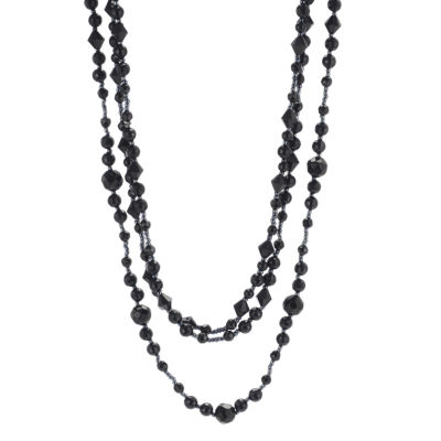 Mixit™ Triple-Strand Jet Black Bead Necklace