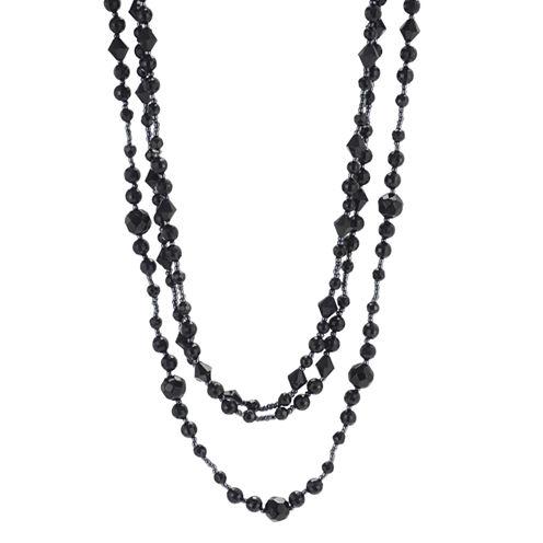 Triple-Strand Jet Black Bead Necklace