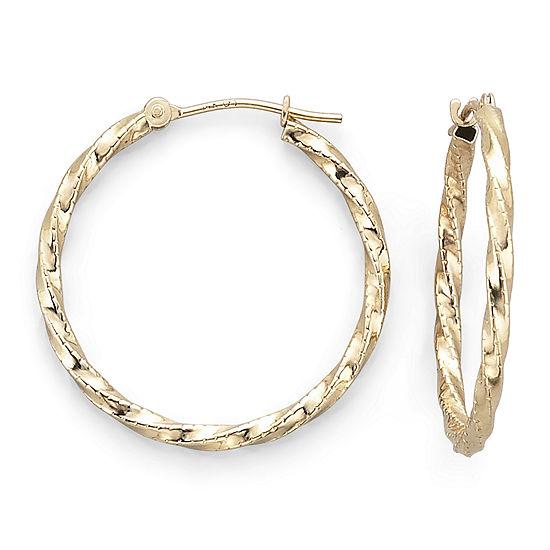 14k Gold Twisted Hoop Earrings