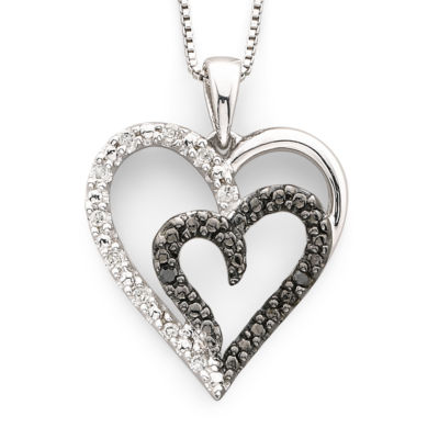 1/10 CT. T.W. White & Color-Enhanced Black Diamond Heart Pendant Necklace Sterling Silver
