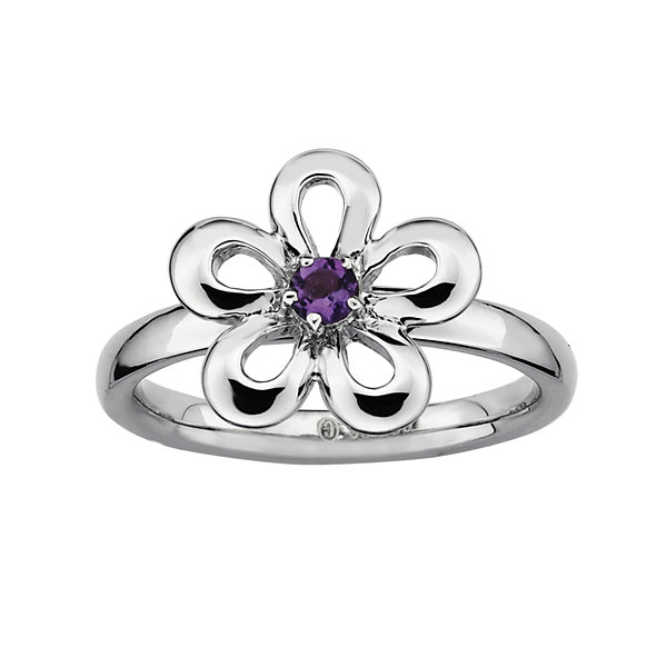 Fine Jewelry Personally Stackable Genuine Peridot Sterling Silver Flower Stackable Ring DwXmn