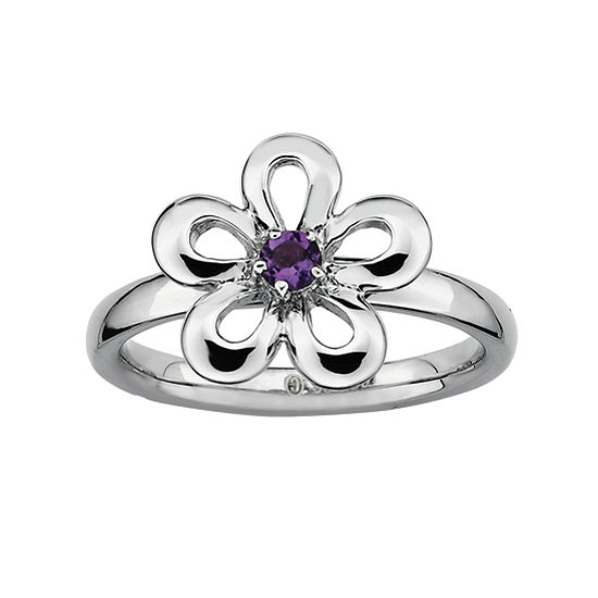 Sterling Silver Flower Stackable Ring