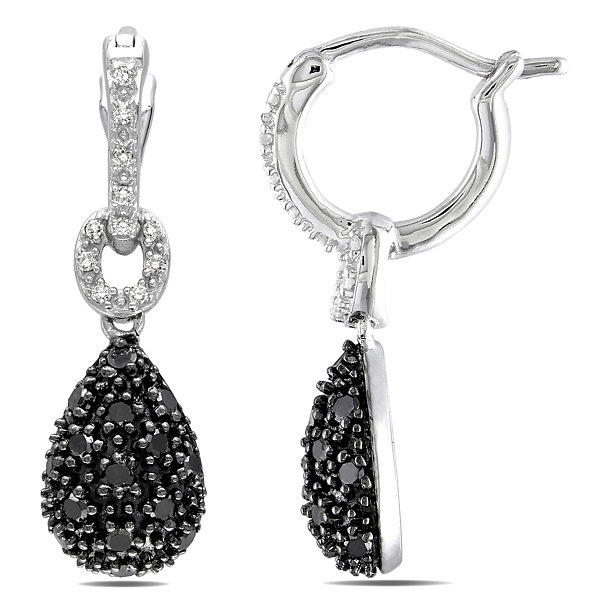 3/8 CT. T.W. Black & White Diamond Sterling Silver Teardrop Earrings