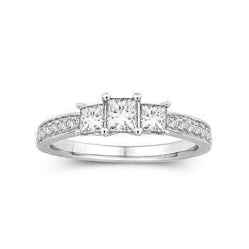 1 Ct T W Diamond 14k White Gold Princess Cut Diamond Ring Color White Gold Jcpenney