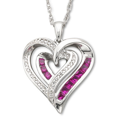 Lab-Created Ruby & Diamond-Accent Heart Pendant  Necklace