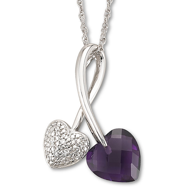 Lab-Created Amethyst & Diamond-Accent Heart Pendant