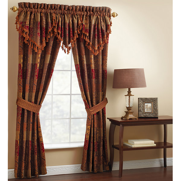 Croscill Classics 174 Catalina Red 2 Pack Curtain Panels