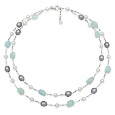 Womens Genuine Blue Aquamarine Sterling Silver Beaded Necklace