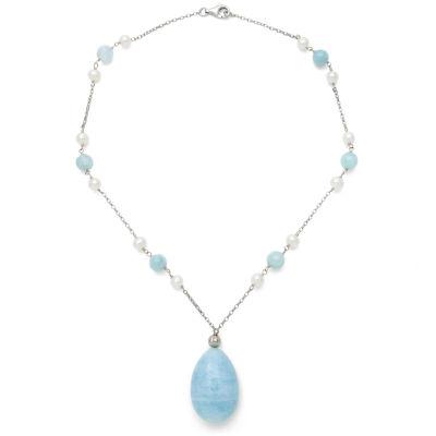 Womens Genuine Blue Aquamarine Sterling Silver Pendant Necklace