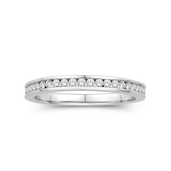 1/4 CT. T.W. Genuine White Diamond 14K Gold 14K White Gold Wedding Band