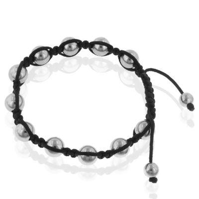 Mens Shamballa Stainless Steel Bead Bracelet