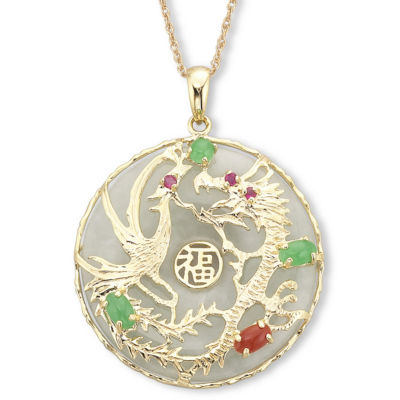 14K Gold over SilverJade Dragon Pendant Necklace