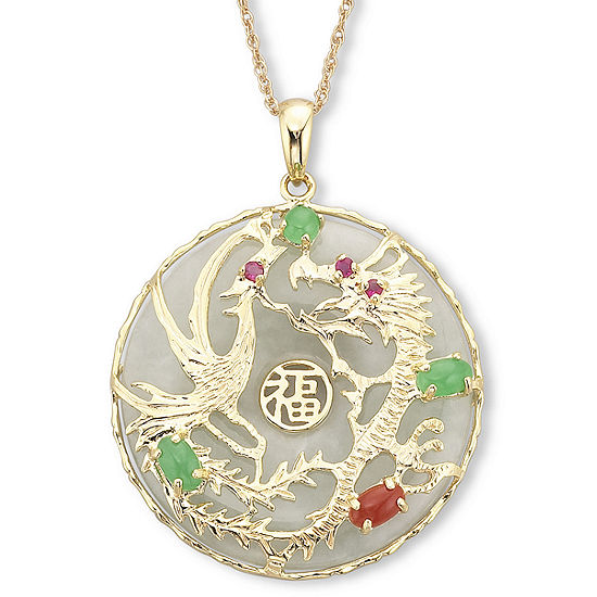 14K Gold over SilverJade Dragon Pendant Necklace