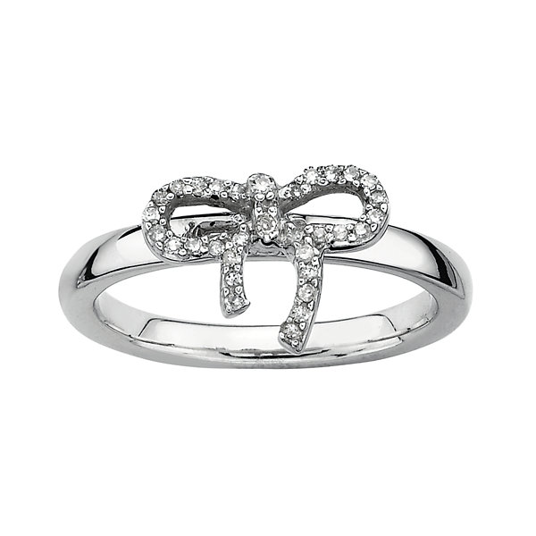 1/10 CT. T.W. Diamond Bow Stackable Ring Silver