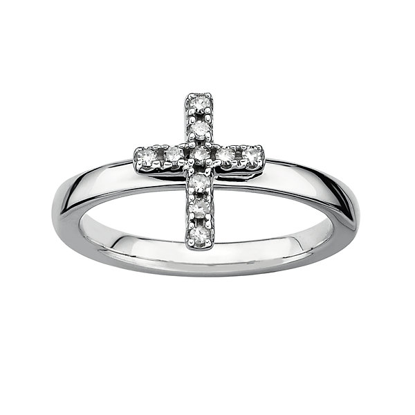 1/10 CT. T.W. Stackable Diamond Cross Ring Silver
