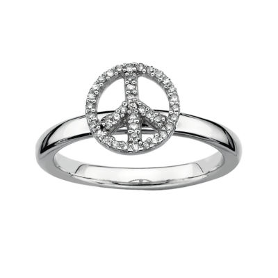 Personally Stackable 1/10 CT. T.W. Diamond Peace Sign Stackable Ring