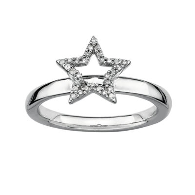 1/10 CT. T.W. Diamond Star Stackable Ring