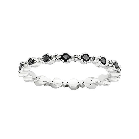 Womens 3/8 CT. T.W. Black Diamond Sterling Silver Cocktail Ring