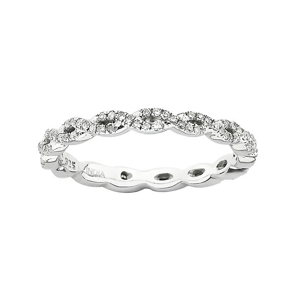 Personally Stackable Sterling Silver Diamond Ring