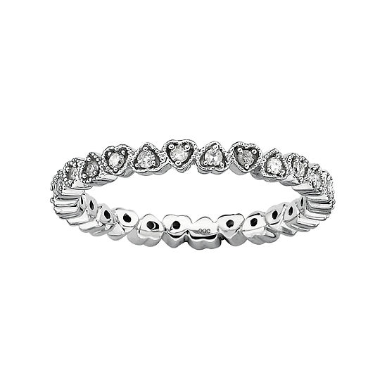 Womens 1/4 CT. T.W. Genuine White Diamond Sterling Silver Heart Cocktail Ring