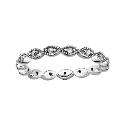 Personally Stackable 1/4 CT. T.Diamond Silver Flower Ring