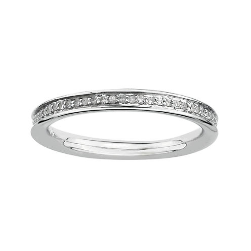 Personally Stackable 1/5 CT. T.W. Diamond Stackable Silver Ring