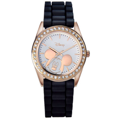 Disney Mickey Mouse Rose-Tone Black Strap Watch