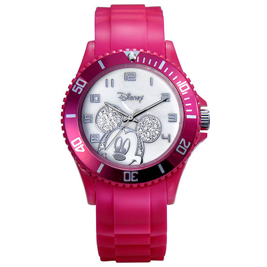 Disney Mickey Mouse Crystal Accent Pink Resin Watch