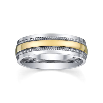 Two-Tone Stainless Steel Ring, Womens 6mm