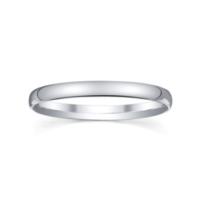 Womens 2mm Silver Domed Wedding Band Ring
