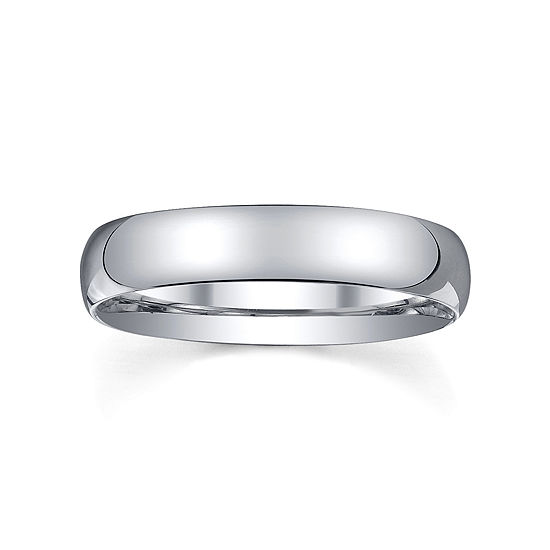4mm Silver Domed Mens Wedding Ring