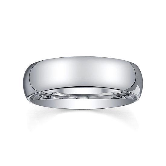 6mm Silver Domed Mens Wedding Ring