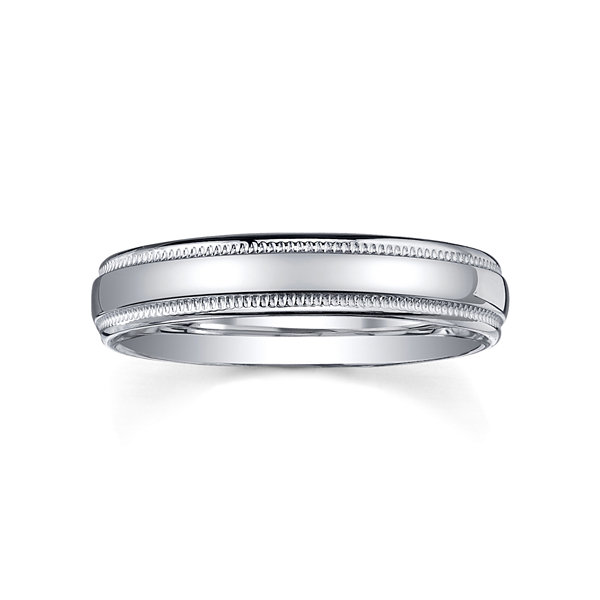Womens 4mm Sterling Silver Wedding Band